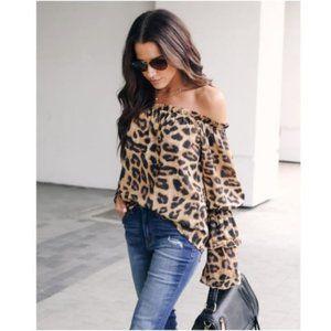 Off Shoulder Leopard Print